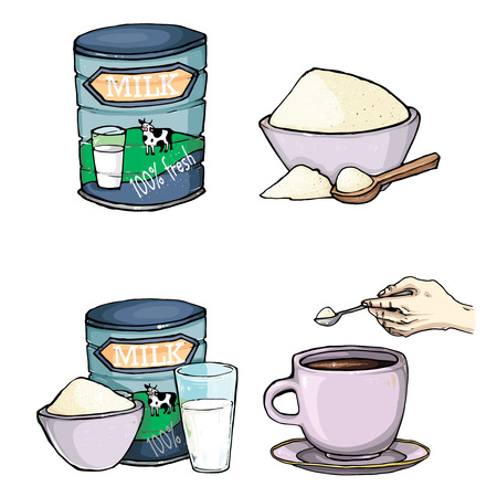 poured: Vector set of cartoon illustration of milk powder in a closed aluminum can and poured into a bowl, a glass of prepared instant milk and the addition of milk powder into a cup of tea, coffee