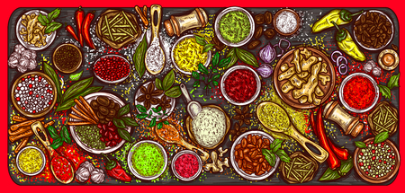 Vector illustration of a variety of spices and herbs on a wooden background, top view. Template, design element