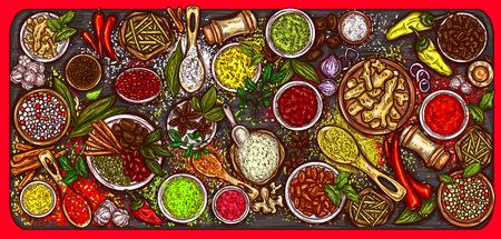 Vectorillustratie van een verscheidenheid van kruiden en specerijen op een houten achtergrond, bovenaanzicht. Sjabloon, ontwerpelement