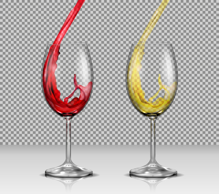 Set of vector illustrations of transparent glass wine glasses with white and red wine pouring in them, isolated. Print, template, design element
