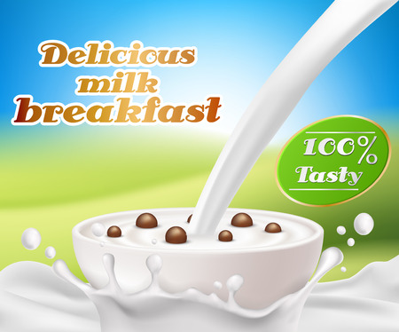 Vector realistic poster with a milk splash and milk pouring into a cup with a cereal breakfast, chocolate cereal balls. Design element for packaging and advertising a new product for a healthy diet