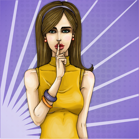 anyone: Vector pop art illustration of a young girl holding her finger on her lips and asking for silence, quiet, do not tell anyone. Excellent advertising poster for advertising discounts and sales
