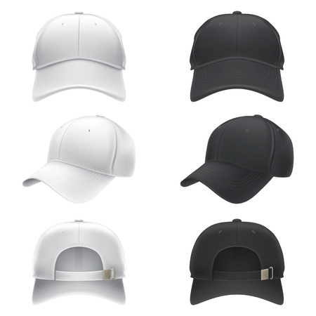 Vector realistic illustration of a white and black textile baseball cap front, back and side view, isolated on white. Print, template, moc up, design element.