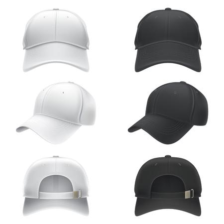 Vector realistische illustratie van een witte en zwarte textiel honkbal GLB voorkant, achterkant en zijaanzicht, geïsoleerd op wit. Afdrukken, sjabloon, moc omhoog, ontwerpelement.