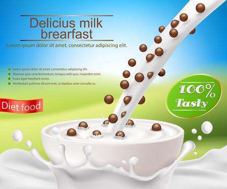 カップのミルクと穀物朝食ベクトル現実的なポスター。パッケージ、健康的な食事のための新製品を広告の要素をデザインします。