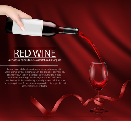 Vector illustration, bright realistic poster with a hand holding a glass wine bottle and pouring red wine into a glass. Template, moc up, layout for advertising, design, branding.