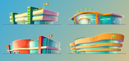 warehouse building: Set of vector cartoon illustrations, various supermarket buildings, shops in an orthagonal projection. Icons of modern large malls, stores. Print, template, design element
