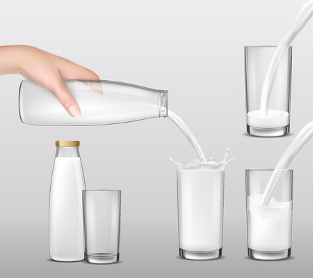 pasteurized: Hand holding a glass bottle of milk, dairy product, yogurt, kefir and pouring it into drinking glasses. Print, template, design element