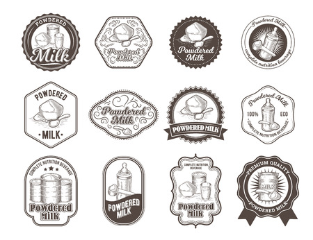 Set of vector illustrations, badges, stickers, labels for milk powder, baby food in the style of engraving isolated on white