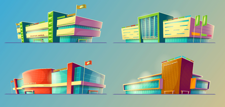 Set of vector cartoon illustrations, various supermarket buildings, shops in an orthagonal projection. Icons of modern large malls, stores. Print, template, design element
