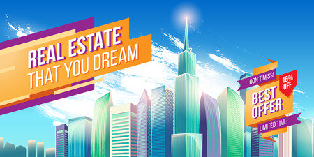 Vector cartoon illustration, banner, urban background with modern big city buildings, skyscrapers, business centers and space for your text. Advertising banner with city landscape. Illustration