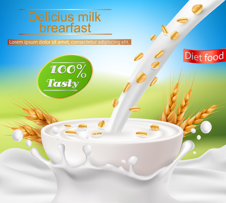 Vector realistic poster with a milk splash and milk with a cereal breakfast, flakes pouring into a cup