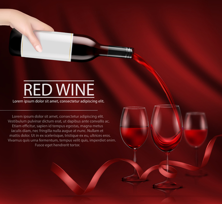 A hand holding a bottle of wine and pouring it into a glass. Vector illustration, layout for advertising, design, branding