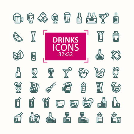 ice: Set of illustrations of icons of drinks.