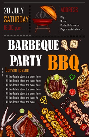 Vector illustration of a bbq menu template, invitation card on a barbecue, gift certificate.