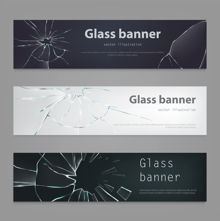 Set of vector illustrations of broken glass banners , broken, cracked glass in realistic style. Background, element for design