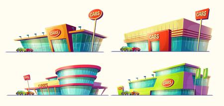 Set cartoon illustraties van verschillende gebouwen