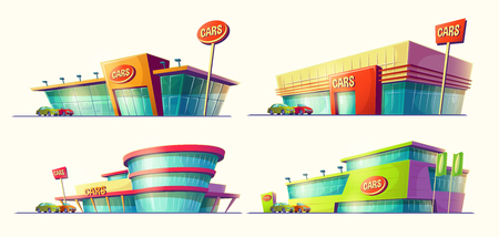 Set of cartoon illustrations of various buildings