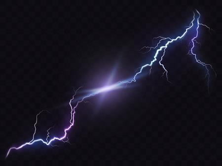 Vector Illustration einer realistischen Art des hellen glühenden Blitzes, der auf einem dunklen lichtdurchlässigen Hintergrund, Effekt des natürlichen Lichtes lokalisiert wird. Magischer weißer Gewitterblitz, Druck, Muster, Gestaltungselement Vektorgrafik