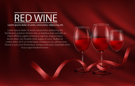 A row of glasses full of red wine and red ribbon.