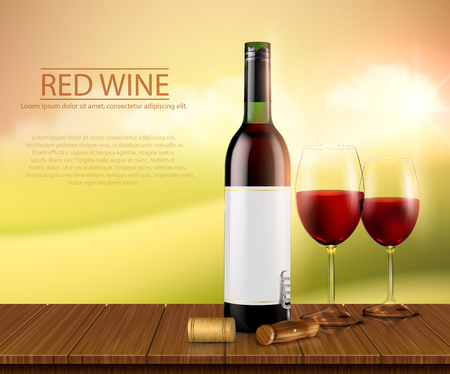 Vector illustration, bright realistic poster with glass wine bottles and glasses with red wine standing on a wooden table. Template, moc up for advertising, design, branding