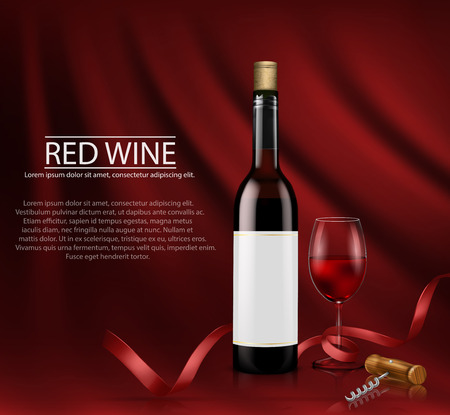 Vector illustration, bright realistic poster with glass wine bottles and glass with red wine. Template, moc up, layout for advertising, design, branding