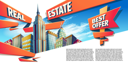 Vector cartoon illustration, banner, day urban background with modern big city buildings, skyscrapers, business centers and space for your text. Advertising banner for a real estate agency Illustration