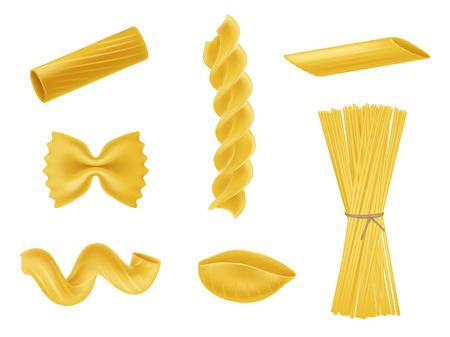 Vector illustration set of realistic icons of dry macaroni of various kinds, pasta, fusilli, rigatoni, farfalle, twists, spaghetti, conchiglie isolated on white background. Print, design element