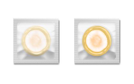 Conjunto de ilustración vectorial de condón de látex en el embalaje aislado sobre fondo blanco, la anticoncepción. Ilustración de vector