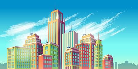 Vector cartoon illustration, banner, urban background with modern big city buildings Illustration