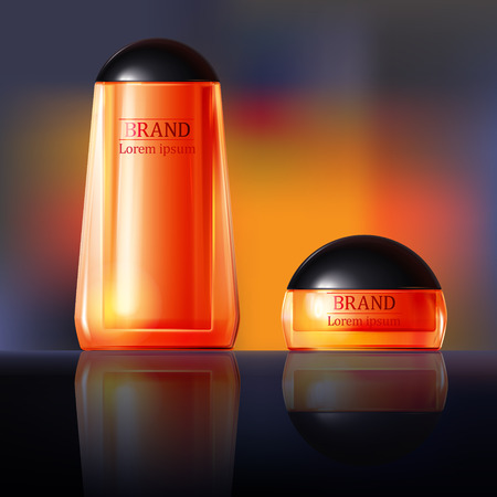 Vector 3D illustration poster with anti-aging cosmetic premium products for face, body or hands. Black and orange background with beautiful bottle and jar in a realistic style