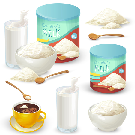 Vector set of cartoon illustration of milk powder in a closed aluminum can and poured into a bowl, a glass of prepared instant milk and the addition of milk powder into a cup of tea, coffee. Ilustração