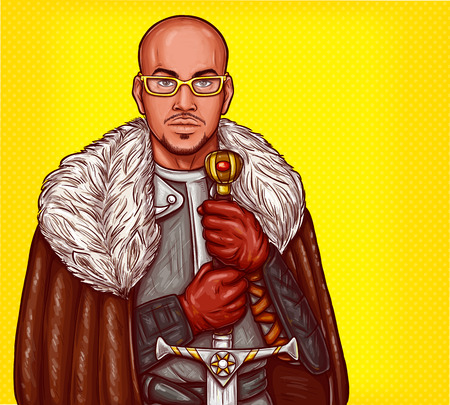 Vector pop art illustration of a medieval knight in steel armor, winter fur cloak and glasses, with an iron sword in his hands.