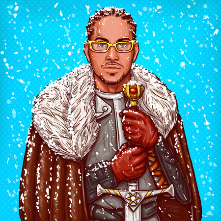 Vector pop art illustration of a medieval knight in steel armor, winter fur cloak and glasses, with an iron sword in his hands during the snow.