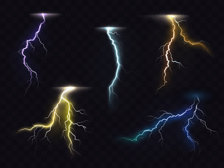 zapping: Colored lightning bolt vector set on transparent background. Electric discharges, thunderbolt glowing realistic light effects. Stormy weather, powerful energy release, high voltage strike illustration.
