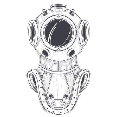 Antique heavy brass or copper diving helmet line art vector illustration isolated on white background. Vintage scuba suit part, industrial diver equipment for deep-sea diving, underwater rescue works
