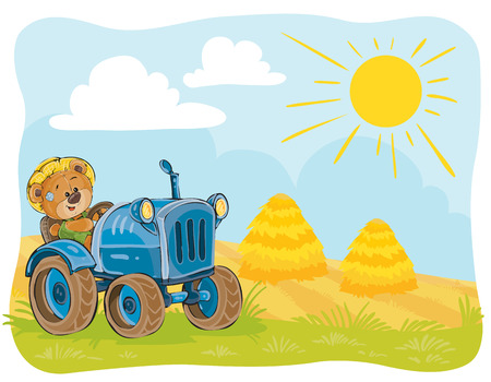 grain fields: Vector illustration teddy bears tractor driver working on the field.
