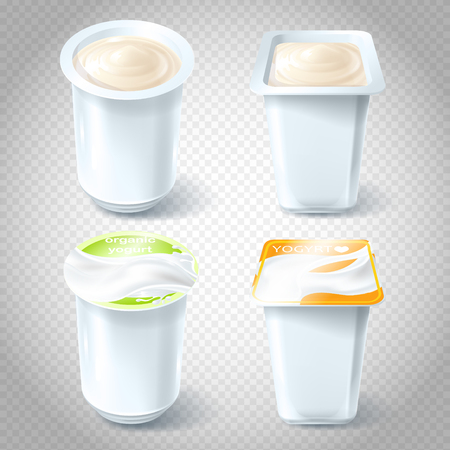 A set of vector illustrations of plastic cups for packaging, storing, selling yogurt. Template, element for design.