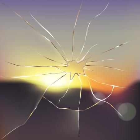 Unterbrochenes Fenster mit unscharfer Sonnenuntergang- oder Sonnenaufgangszene draußen und Lichtstrahlen, die durch gebrochene realistische Vektorillustration des Glases überschreiten. Hindernisse überwinden, Grenzen brechen, neues Sehkonzept Vektorgrafik