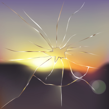 Ventana quebrada con escena borrosa de la puesta del sol o de la salida del sol afuera y rayos ligeros que pasan a través del ejemplo realista de cristal agrietado del vector. Destruyendo obstáculos, rompiendo limitaciones, nuevo concepto de visión Ilustración de vector
