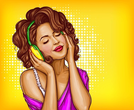 eyes are closed: Young pretty woman in vintage headphones listening music with closed eyes pop art vector illustration on dotted background. Curly girl music lover relaxing when enjoying her favorite song. Copyspace