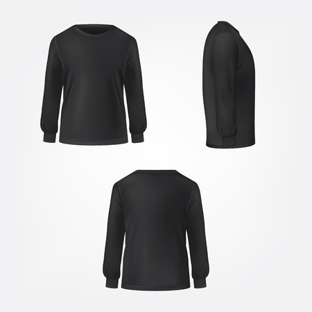 Black jumper with crew neck and long sleeve in three sides view realistic vector set isolated on white background. Modern unisex casual cloth template for fashion concept, clothing store advertising Illustration