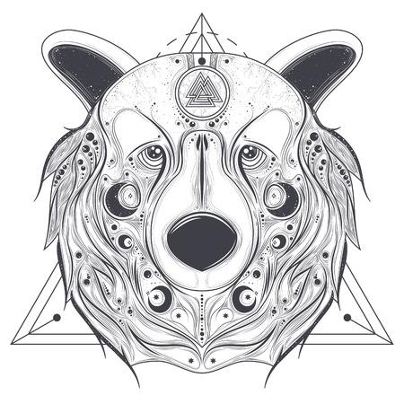 talisman: Cabeza del oso grizzly con el símbolo pavo antiguo de Valknut en la línea ejemplo del vector del frente de la arte aislado en el fondo blanco. Animal tótem con ornamentos geométricos abstractos en el hocico. Tatuaje popular pagano