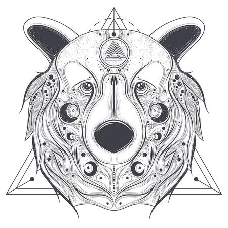 head protection: Grizzly bear head with ancient pagan valknut symbol on forehead line art vector illustration isolated on white background. Totem animal with abstract geometric ornaments on muzzle. Pagan folk tattoo Illustration