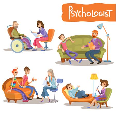 Psycholoog op het werk cartoon tekens vector illustratie set. Psychiater die met klanten praat, een adviserend koppel adviseert, psychologische ondersteuning biedt, tieners raadpleegt, helpt stress te overwinnen Stock Illustratie