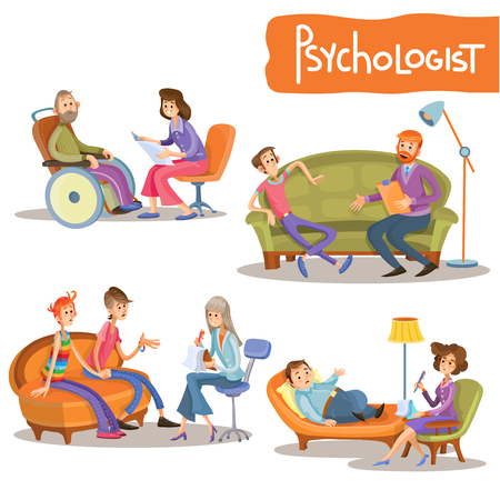 Psychologist at work cartoon characters vector illustration set.  Psychiatrist talking with clients, advising couple, provides psychological support, consulting teenagers, helping to overcome stress