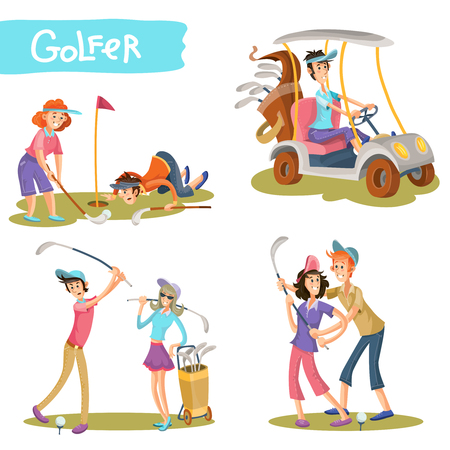 Set of female and male golfers cartoon characters playing golf, learning hold stick, hitting ball, driving golf car vector illustration isolated on white. Funny golf players couple on field collection