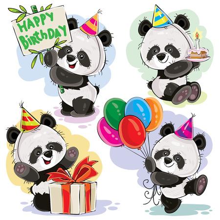 Lindo panda osos personajes de dibujos animados de bebé celebrando cumpleaños con torta, globos y presente en ilustración de vector de caja conjunto aislado sobre fondo blanco para tarjeta de felicitación, invitación de fiesta de cumpleaños