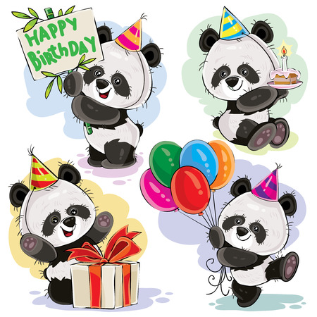 Cute panda bears baby cartoon characters celebrating birthday with cake, balloons and present in box vector illustration set isolated on white background for greeting card, birthday party invitation