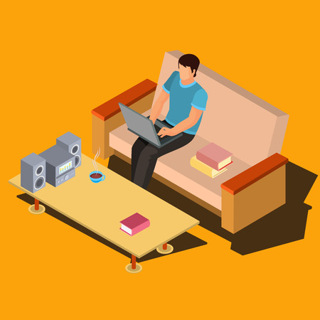 device: Man working on laptop while sitting on sofa near coffee table with music center isometric projection vector illustration. Distant learning, freelancer working online at home, computer user 3d concept